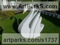 Wild Bird Sculpture by sculptor artist timothy blackwood titled: 'White Swan (Metal fabricated Swimming garden statue)' in Alluminium