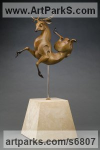 Bronze Deer sculpture by Timothy Nimmo titled: 'Birth of the Sacred Stag (Modern Twisted Deer statue)'