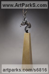 Bronze, travertine Deer sculpture by Timothy Nimmo titled: 'Blackbuck Bust (Exotic Twisted Horn Antelope statue)'