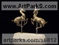 Bronze, travertine Antelope sculpture by Timothy Nimmo titled: 'Eternal Dance (Bronze Buck and Doe Gazelle statues)'