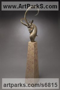 Bronze, travertine Antelope sculpture by Timothy Nimmo titled: 'Ibex Bust (Buck Animal Head with Curving Horns statue)'