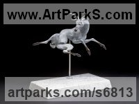 Bronze, Carrara Marble Deer sculpture by Timothy Nimmo titled: 'Moon Shadow (abstract ghostly Deer Spirit sculpture)'