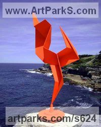 Steel Abstract Contemporary Modern Outdoor Outside Garden / Yard sculpture statuary sculpture by sculptor Todor Todorov titled: 'Dancing Figure (Painted Steel Contemporary Kinetic garden/Yard statue)'