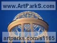 Stainless steel, bronze Architectural sculpture by sculptor Todor Todorov titled: 'Rotunda (Hemispherical Decorative Dome Roof statues)'