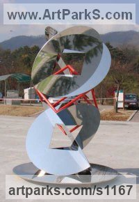 Stainless steel Modern Abstract Contemporary Avant Garde Sculptures or Statues or statuettes or statuary sculpture by sculptor Todor Todorov titled: 'The Beginning (Modern abstract stainless Steel outdoor sculpture)'