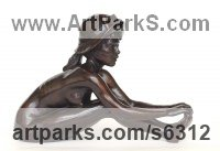 Bronze Little Small Nude or Naked Girls Women Ladies Females Sculpture Statue statuettes Figurines sculpture by Tom Greenshields titled: 'Anya with Hat (Little nude Bronze Girl statuette or Figurine)'
