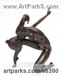 Resin Bronze Dance Sculptures and Ballet sculpture by Tom Greenshields titled: 'Karen Dancing (resin bronze nude Kneeling Sensuous Girl statuette/art)'