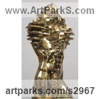 Bronze Human Form: Abstract sculpture by Toma Nenov titled: 'Torso M (Bronze abstract nude Male Outside statues)'
