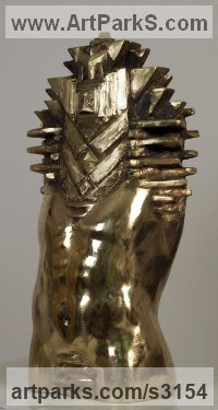 Bronze Nudes / Male sculpture by Toma Nenov titled: 'Transformation M (Bronze Male abstract Torso statues)'