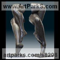 Bronze Surrealist sculpture by Ton Voortman titled: 'Chains (Brnze Crossed female Naked Legs Outdoor garden sculptures)'