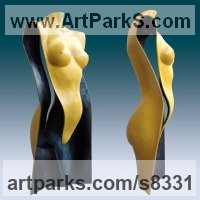 Bronze Painted Coloured Tinted Patinated Enamelled Sculptures Statues statuettes sculpture by Ton Voortman titled: 'Stella Maris (Little nude Contemporary Torso statue)'