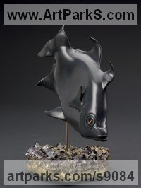 Black Pyrophyllite, Carnelian, Amethyst American Animal Bird Reptile and Fish Sculptures, Statues, statuettes, figurines sculpture by Tony Mayo titled: 'Angel Fish (Carved Black Stone Swimming Modern statue)'