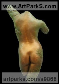 Gypsum Nudes, Female sculpture by Tony Meadows titled: 'Calan Haf (Mayday, Hebe Green Woman Torso sculptures)'