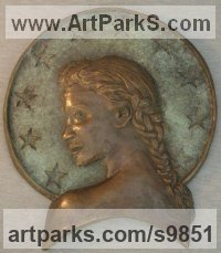 Bronze Wall Mounted or Wall Hanging sculpture by Tony Meadows titled: 'Europa (Low Relief female Head Wall sculpture statue)'