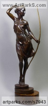 Bronze Little Small Nude or Naked Girls Women Ladies Females Sculpture Statue statuettes Figurines sculpture by Tristan MacDougall titled: 'Artemis (Small Goddess Huntress Diana and Bow bronze statue statuette)'