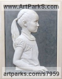 Coloured earthenware in limed ash frame Portrait Sculptures / Commission or Bespoke or Customised sculpture by Tristan MacDougall titled: 'Bas-relief Child Portrait (Little Girl Profile Cameo panel statue)'