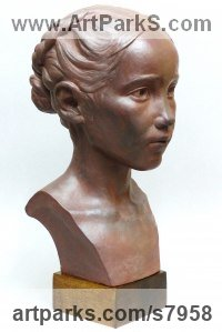 Terracotta Children Child Babies Infants Toddlers Kids Sculptures Statues statuettes figurines sculpture by Tristan MacDougall titled: 'Child Portrait (Head Bust Face Likeness Commission Bespoke statue)'