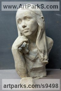Concrete Classical Style Sculptures and Statues sculpture by Tristan MacDougall titled: 'Child Portrait in Concrete'