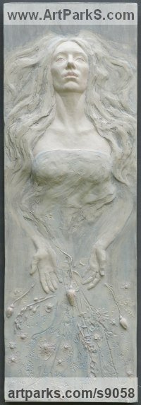 Coloured plaster Classical Style Sculptures and Statues sculpture by Tristan MacDougall titled: 'Ophelia'