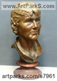 Bronze on turned walnut base Busts and Heads sculpture statuettes Commissions Bespoke Custom Portrait Memorial Commemorative sculpture or sculpture by sculptor Tristan MacDougall titled: 'Woman`s Portrait (Vibrant Portrait Bronze Head Bust sculpture)'