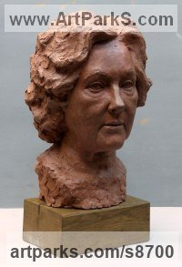 Terracotta Busts and Heads Sculptures Statues statuettes Commissions Bespoke Custom Portrait Memorial Commemorative sculpture or statue sculpture by Tristan MacDougall titled: 'Portrait of Angela (Terra Cotta Portrait Bust statue)'