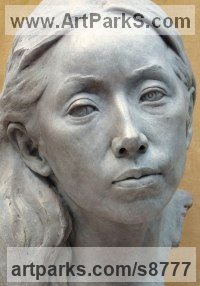 Bronze Portrait Sculptures / Commission or Bespoke or Customised sculpture by Tristan MacDougall titled: 'Bronze Portrait of Junko (Bronze Bust Head statue)'