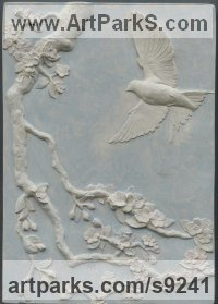 Plaster coloured with oil paint Bas Reliefs or Low Reliefs sculpture by Tristan MacDougall titled: 'Swallow and Apple Blossom (Low Relief Wall panel)'