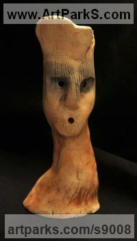 Clay, Fired Ceramics Surrealist sculpture by Ulisses Santiago titled: 'Lord Byron (Clay abstract Caricature sculptures)'