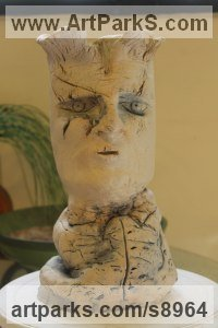 Clay, Fired Ceramics Ceramic sculpture by Ulisses Santiago titled: 'Profile of a Post-Modern Man (abstract Face statue)'