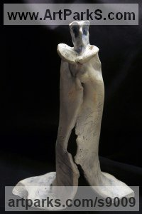 Clay, Fired Ceramics Ceramic sculpture by Ulisses Santiago titled: 'Tenacious Monk (Determination Caricature statuette)'