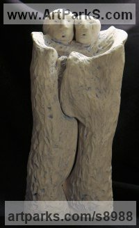 Clay, Fired Ceramics Surrealist sculpture by Ulisses Santiago titled: 'The Embrace (ceramic Mutuel Support sculptures)'
