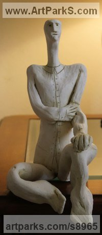 Clay, Fired Ceramics Surrealist sculpture by Ulisses Santiago titled: 'The Thinker (Little ceramic Kneeling Man statue)'