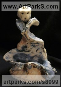 Clay, Fired Ceramics Literary and Musical Characters sculpture by Ulisses Santiago titled: 'Tosca (Contemporary Opera Character sculptures)'