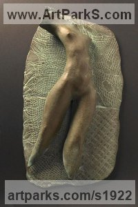 Sensual Sculpture or Statues by sculptor artist Vahan Bego titled: 'My Muse (Small Bronze nude Prostrate Girl Torso statue)' in Bronze