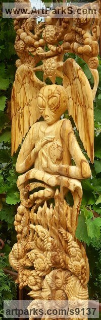 Arte Nouveau Style sculpture by Valentin Stoyanov titled: 'Save the World (Hand made wood carved sculpture/lime wood)'