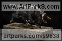 African Animal and Wildlife sculpture by Вezpally VALERON titled: 'Bull (Charging Menacing Bull Fight statue)'