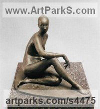Bronze and Granite Nudes, Female sculpture by sculptor Valery Yevdokimov titled: 'Contemplation (Minimalist Bronze nude Girl statue/statuette/figurine)'