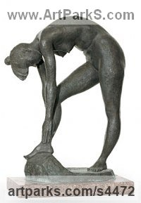Bronze and Granite Nudes, Female sculpture by sculptor Valery Yevdokimov titled: 'Narcissess (Small nude Bronze Beautiful Girl stooping statuette/statue)'