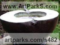 Bronze Fruit sculpture by Veda Hallowes titled: 'The Source (Outsize Apple Birdbath Yard sculptures)'