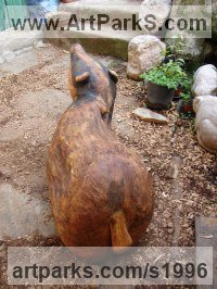 Carved and assembled Oak Animals in General sculpture sculpture by sculptor Vega Bermejo Castelnau titled: 'Badger'