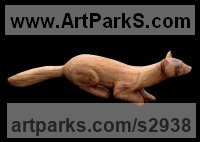 Carved Oak Carved Wood sculpture by sculptor Vega Bermejo Castelnau titled: 'Beech Marten (Carved Oak Wood Wild Animal sculpture)'
