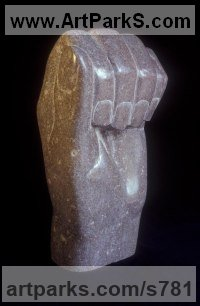 Variety of Emotional feelings depicted in Sculpture by sculptor artist Vega Bermejo Castelnau titled: 'Expectation (Big Clenched marble Hand sculpture carving statue)' in Bu?ol marble