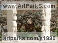 Busts and Heads Sculpture Statues statuettes Commissions Bespoke Custom Portrait Memorial Commemorative sculpture or statue by sculptor artist Vega Bermejo Castelnau titled: 'Four Points of View (Carved 4 Faces Heads stone statue carving totems)' in Carved  bateig sandstone