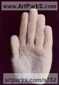 Variety of Emotional feelings depicted in Sculpture by sculptor artist Vega Bermejo Castelnau titled: 'Limitation (Big Outsize Carved marble Hand statue sculptures carvings)' in Bateig sandstone