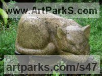 Cats Sculpture by sculptor artist Vega Bermejo Castelnau titled: 'Sleeping Cat (Carved stone Lying Dozing Day Dreaming Carving statue)' in Lancaster limestone