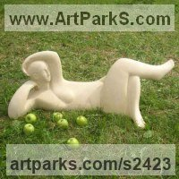 Ceramics Figurative Abstract Modern or Contemporary Sculptures Statues statuary statuettes figurines sculpture by Vera Viglina titled: 'Breakfast on grass Contemporary Modern abstract Lying woman sculpture'