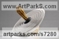 Balancing sculpture by Verena Mayer-Tasch titled: 'Spinner (Carved marble Spinning Top Fun Toy carving statuette statue)'