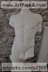 White Carrara Statuary marble Sculpture of Men by Verena Mayer-Tasch titled: 'Torso'