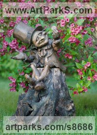 Bronze Fairies Imps Trolls Gnomes Pixies Elves Goblins Hobgoblins Leprechauns Gremlins Elfs statuettess figurines Sculptures Statues sculpture by Victoria Chichinadze titled: 'Money-Lender (Fun Pixie Gnome Big sculpture)'