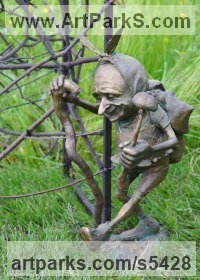 Bronze Garden Or Yard / Outside and Outdoor sculpture by Victoria Chichinadze titled: 'Mushroomer (bronze Imp Elf Troll Pixie Gnomes Amusing sculptures)'